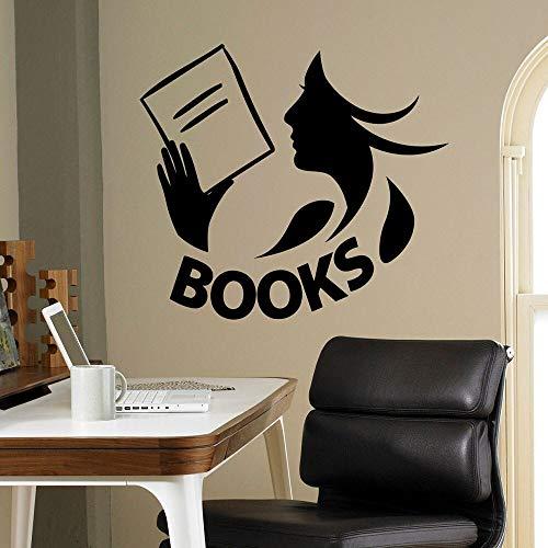 HGFDHG Libros calcomanías de Pared Biblioteca Sala de Lectura librería Dormitorio de los niños decoración de Interiores Puertas y Ventanas Pegatinas de Vinilo Lectura Chica Arte Mural