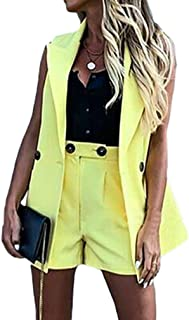 Yying Work OL Suit Blazer+Shorts Trajes Set Turn Down Collar Chaleco y Pantalones Cortos Mujeres Chic Suit Office Sets 2Pi...