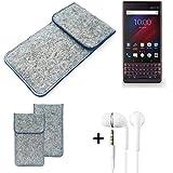 K-S-Trade Filz Schutz Hülle Für BlackBerry Key 2 LE Dual-SIM Schutzhülle Filztasche Pouch Tasche Handyhülle Filzhülle Hellgrau, Blauer Rand + Kopfhörer