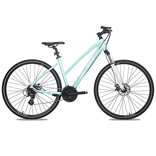 Hiland 700C Hybrid Bicycle with Suspension Fork Aluminum City Commuter Comfort Bike Mint Green