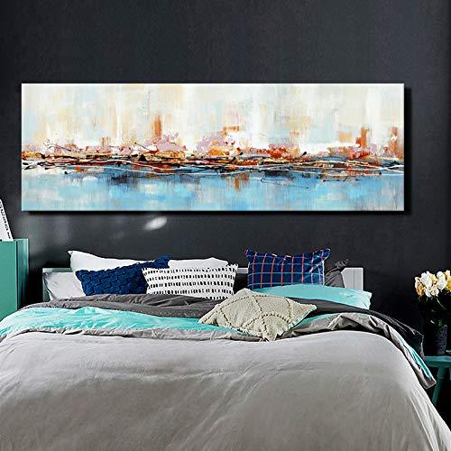 KWzEQ Pintura al óleo Abstracta Moderna sobre Lienzo póster e impresión Sala de Arte decoración del hogar,Pintura sin Marco,60x180cm