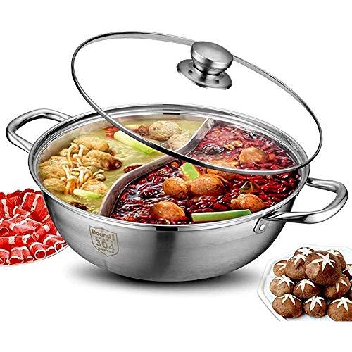 Pentola a pentola Calda, Vaso Anatre del Mandarino, utensile da Cucina della zuppa di casseruola della Cucina, 2 griglia 2 Gusto Acciaio Inossidabile Caldo con Coperchio in Vetro (Size : 36cm)