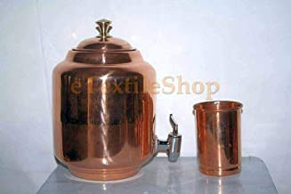 eTextileShop 100% Pure Copper Ayurveda Health Benefit Solid 4.5 LTR Pot Water Dispenser Tank Storage Drinkware Unique Container Flask with Matching Serving Glass