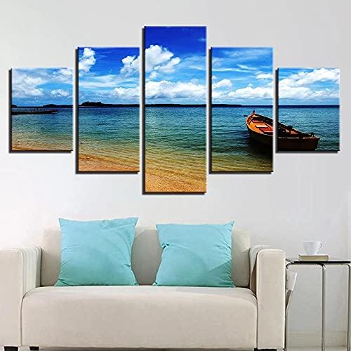 IJNHY Cuadro Barco De Playa Azul Cielo Nube 5 Piezas De Arte De Pared XXL Impresiones En Lienzo 5 Piezas Cuadro Moderno para El Arte De La Pared del Hogar 150×80Cm HD Impreso Mural Enmarcado