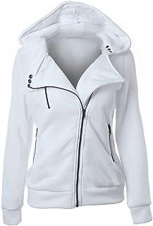 Jacket Women Long Sleeve Autumn Winter Tops Elegant Warm Hoodie Loose Pockets Zipper Solid Color Medium Thick Sweatshirt C...