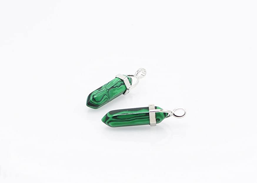 AKOAK 2 Pcs Gemstone Bullet Shape Healing Pointed Chakra Beads Crystal Quartz Stone for Necklace Jewelry Making,Malachite