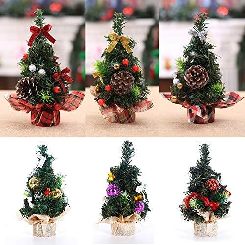 Luckylj Mini Surtido De Decoraciones Navideñas De Canasta De Árboles De Navidad, En Base De Arpillera, Base A Cuadros, con Lentejuelas, Cinta, Conos De Pino, Adornos