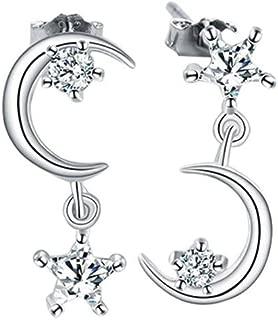 Ogquaton Magnifiques boucles doreilles femmes lune et /étoiles strass asym/étrique boucles doreilles oreille goujons charme bijoux cadeau boucles doreilles pratique et populaire