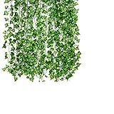 ASANMU Guirnalda Hiedra Artificial, 2.1m-12pcs Plantas...