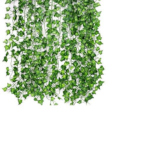 ASANMU Guirnalda Hiedra Artificial, 2.1m-12pcs Plantas Hiedra Artificial Hojas de Hiedra...