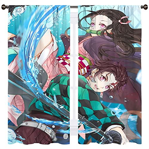 Anime Demon Slayer Kimetsu No Yaiba Tanjirou and Nezuko - Cortinas para oscurecer la habitación con aislamiento térmico, 106 x 115 cm