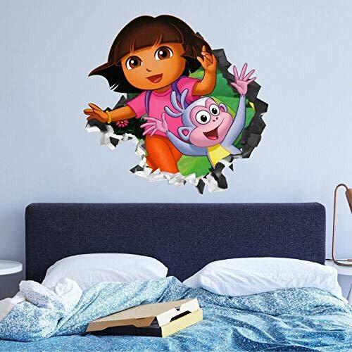 QAW Pegatinas de pared Dora Explorer calcomanía de pared personalizada 3d etiqueta de la pared arte