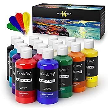 Magicfly Bulk Acrylic Paint Set 14 Rich Pigments Colors  280 ml/9.47 fl oz  Acrylic Paint Bottles Non-Fading Non-Toxic Craft Paints for Painting on Canvas Ideal for Kids Artist & Hobby Painters