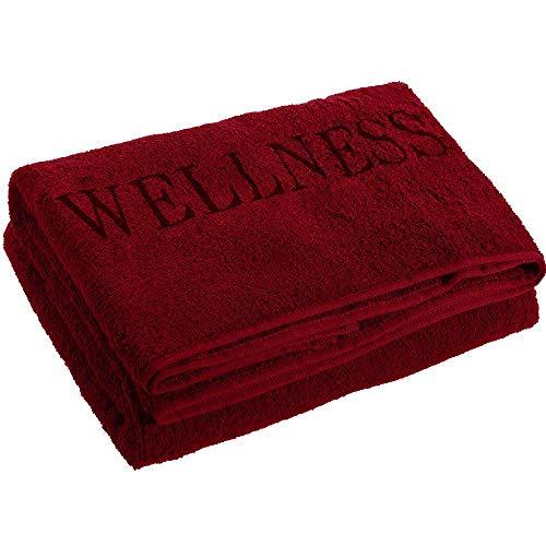 aqua-textil Wellness Saunatuch Doppelpack XXL 90 x 220 cm Uni Bordeaux rot Baumwolle Frottee Sauna Handtuch Strandtuch