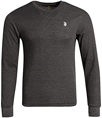 U.S. Polo Assn. Men's Thermal Underwear Crew Neck T-Shirt, Size Medium, Charcoal Heather'