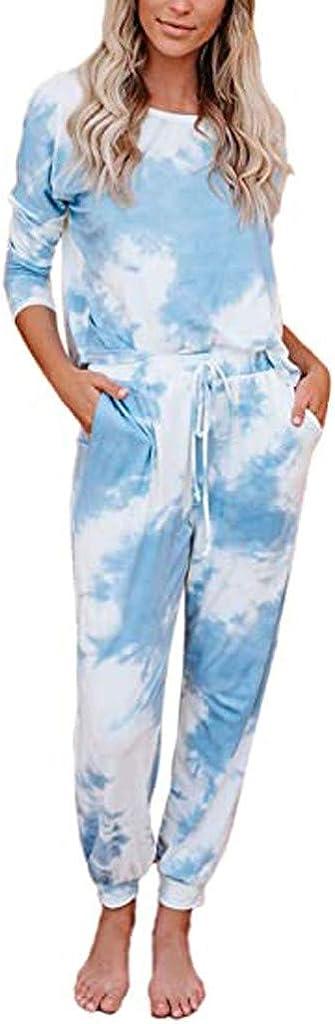 Tie Dye Pajamas for Women,Women's Pajama Sets Tie Dye Sweatsuit Long Sleeves Pullover Sleepwear Set Lounge Jogger Set