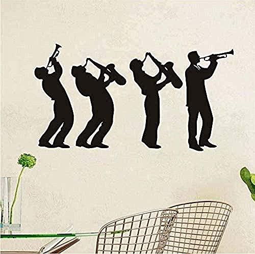 Pegatina Músico Etiqueta de la pared Grupo de música Diseño artístico Niño tocando el saxofón Silueta Tatuajes de pared Decoración Sala de estar 59X32Cm