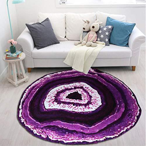 GCCMK Persoonlijkheid rond hout 3D print ring home tapijt woonkamer salontafel slaapkamer nachtkastje zwevende venster anti-slip machine wassen