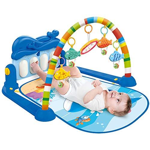 Albott Play Mat Baby Play Gym Activity Musical Play Mat for New Born Baby Infant Toddler, Early Education Activity Gym Play Mat Toy with Piano, Baby Play Mat with Lights and Melodies