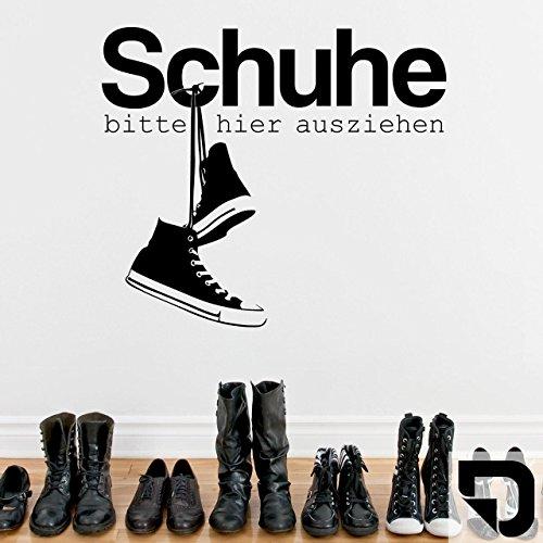 DESIGNSCAPE® Wandtattoo Schuhe bitte hier ausziehen mit coolen Sneakern 60 x 52 cm (Breite x Höhe) schwarz DW801200-S-F4