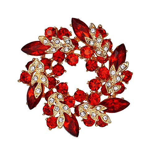 EVER FAITH Austrian Crystal Wedding Flower Wreath Brooch Pin Red Gold-Tone