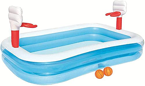 Mitrc Kids Inflatable Pool, Baby-Pool, Basketball-Pool Kids Water Erholungs-Gartenbad-Spielzeuge 254  168  102cm