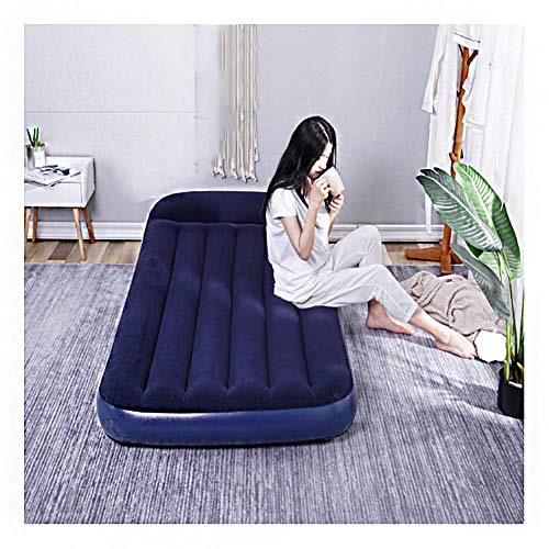 MGIZLJJ Air Bed, Premium Single Size AirBed with Hand Pump and Built-in Pillow, Thicken Inflatable Air Mattress 188x99x30cm, Soft Flocking Guest Bed, Storage Bag & Repair Patches Included,Blue