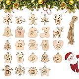 24 Pezzi Calendario Dell'Avvento Numeri in Legno,Calendario Avvento di Natale in Legno,Decorazioni Natalizie in Legno,Natale Ciondolo in Legno per Decorare Albero di Natale Fai da Te Regalo (C)