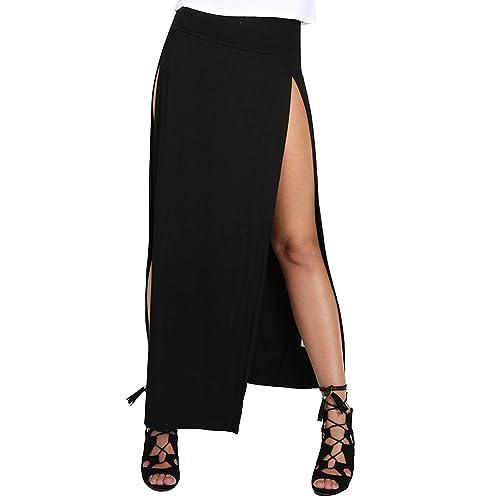 98535d68fc Womens Ladies Double Split Slit High Waisted Swing Long Jersey Skater Midi  Skirt Plus Size (