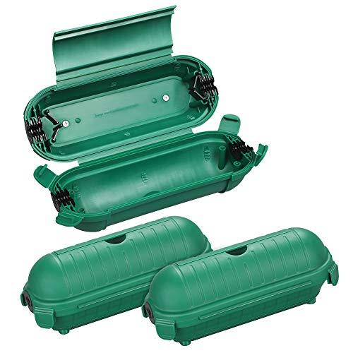 DEWENWILS Safebox mit 4 Klappen, 3er Schutzbox für außen Verlängerungskabel bis 12mm, IP44 Sicherheitsbox, Geräumige Schutzkapsel für Kabel und und Stecker der Feiertagsdekoration, Wandmontage, Grün