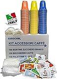 KIT ACCESSORI CAFFÈ con 150 BUSTINE DI ZUCCHERO + 150 BICCHIERINI + 150 PALETTINE - EUROCHIBI® LINEA ALTA QUALITÀ