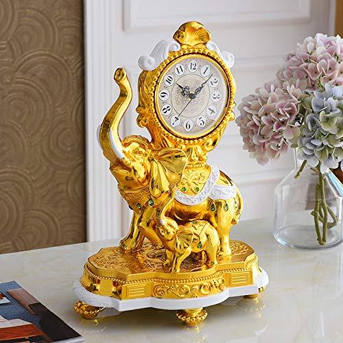Sebasty Ornamente Resin Uhr/Kreatives Leben Elefant Tischdekoration/Mute-Uhr Wohnaccessoires Villas 34 × 49 × 13cm (Color : Gold)