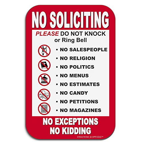 """No Soliciting Sign for Home - No Soliciting No Exceptions Please Do Not Knock or Ring Doorbell , 6"""" x 9"""" door / wall signs No Rust PVC Will Not Scratch , Easy to Mount with Included Adhesive"""