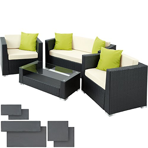 TecTake Luxury Rattan Aluminium Garden Furniture Sofa Set Outdoor Wicker with Glass Table + Upholstery + 4 Extra Pillows, Stainless Steel Screws -Different Colours- (Black)