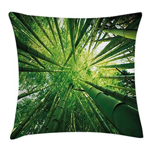 Nature Throw Pillow Funda de cojín, tallos de bambú hacia arriba en la selva, selva tropical, árbol exótico, arbolado, imagen de sombras, funda de almohada decorativa cuadrada decorativa, verde cazado
