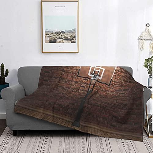 Mantas de microfibra ultra suaves, pared de ladrillo viejo y borde de aro de baloncesto para ejercicios de entrenamiento en interiores, suave y ligera para cama, sofá, sala de estar, 40 'x 50'