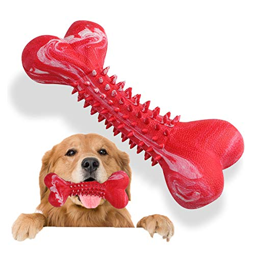 Dog Toy for Aggressive Chewers – Tough and Durable Chew Toy for Large Pet Breed – Indestructible Rubber Bone for Teeth Cleaning and Care – Stimulating Bristle for Teething Bites – Fun and Safe