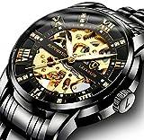 Relojes, Relojes Hombre Negro Mecánico Automático Esqueleto de Estilo Clásico Impermeable Reloj de Los Hombres con Correa de Acero Inoxidable