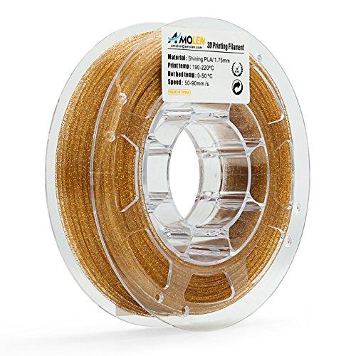 AMOLEN PLA Filament 1.75mm Shiny Gold, 3D Printer Filament 225G(0.5lb) +/- 0.03 mm, Includes Sample Black Flexible Filament & White Flexible Filament.