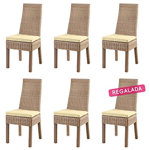 Rotin Design Lote 6 sillas de Ratan Calvi Beige sillas para Comedor