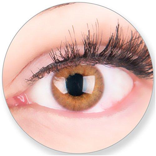 Glamlens Kontaktlinsen farbig braun ohne und mit Stärke - mit Kontaktlinsenbehälter.Sehr stark deckende natürliche braune farbige Monatslinsen Ockerbraun 1 Paar weich Silikon Hydrogel 0.0 Dioptrien