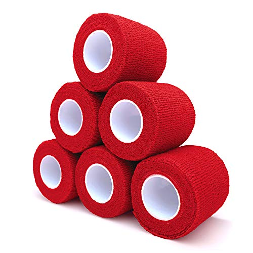 """Cohesive Bandage 2"""" x 5 Yards, 6 Rolls, Self Adherent Wrap Medical Tape, Adhesive Flexible Breathable First Aid Gauze Ideal for Stretch Athletic, Ankle Sprains & Swelling, Sports(Red)"""