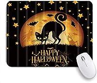 バットフライング、ゲームプレーヤーのオフィス、デスクの装飾、9.5x7.9インチの装飾的なマウスパッドで夜のゴシックの森で印刷されたマウスパッドハッピーハロウィンケアリー猫