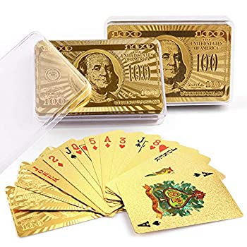 LotFancy 24K Gold Foil Playing Cards 2 Decks of Cards with Boxes Waterproof Plastic Bridge Size Standard Index for Cards Games Magic Props