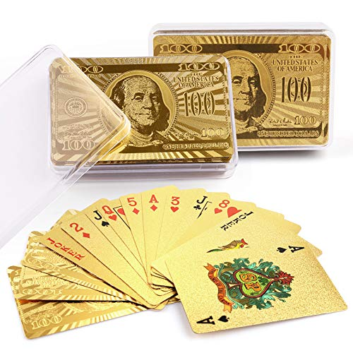 LotFancy 24K Gold Foil Playing Cards, 2 Decks of Cards with Boxes, Waterproof Plastic, Bridge Size Standard Index, for Cards Games, Magic Props