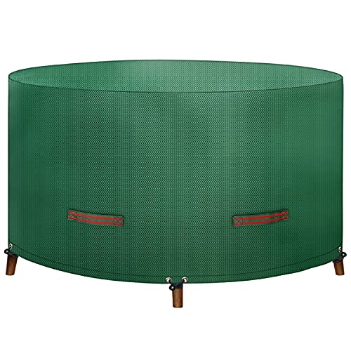 Dokon Garden Table Cover with Double Handles, Round Garden Furniture Covers, 150gsm Rip Proof Polypropylene (PP) Fabric Outdoor Patio Table Cover, Waterproof, Windproof, Anti-UV, Ø130x75cm(Green)