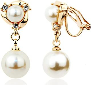 Acefeel Clip On Earring For Girls With Simulated Dangle Pearl 4 style