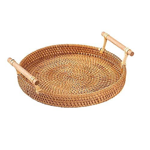 XGLIPQ Canasta tejida de ratán de Vietnam bandeja redonda bandeja de frutas tejida de bambú de doble oreja cesta tejida. Bandeja bandeja de frutas moderna sala de estar decoración de la mesa de centro