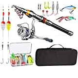 sakuyu Fishing Pole Combo Set, All-in-one 2.1m/6.89ft Light-Weight Fishing Rod+Spinning Reel+Line+Lures Set+3PCS Float+ Carry Bag for Kids Youth Outdoor Travel Bass Trout