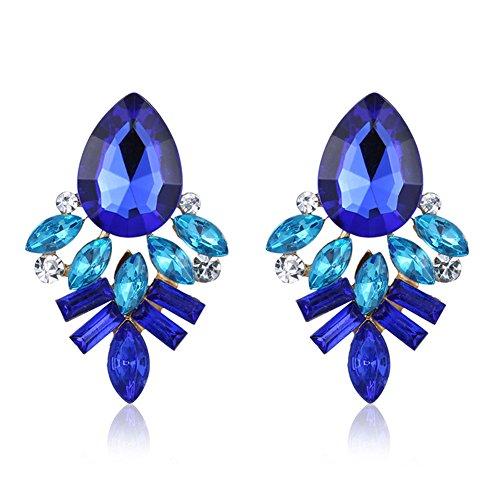 cosanter Blu Zirconi Orecchini di cristallo modello goccia Orecchini fatti a mano orecchini da donna alla moda